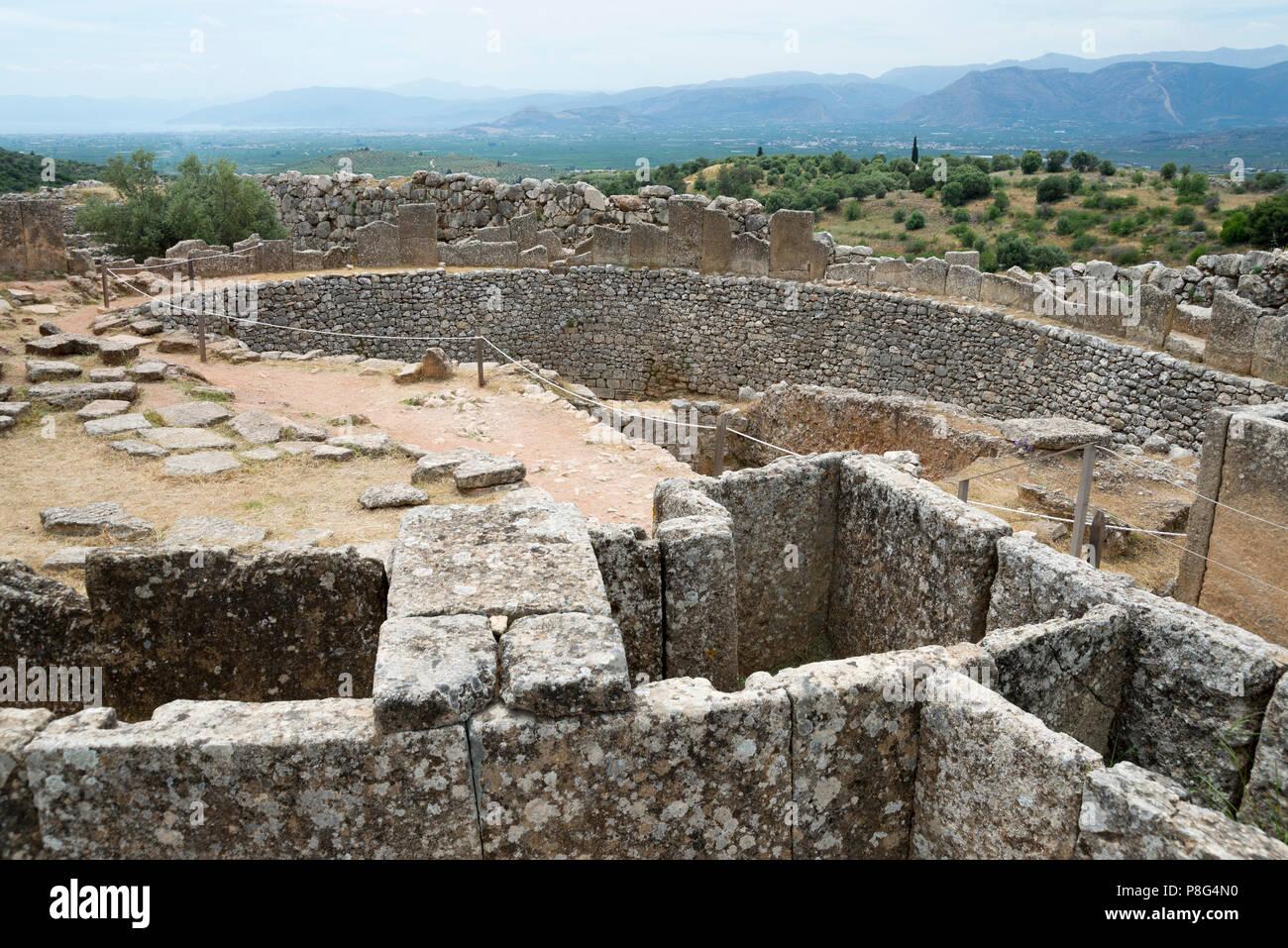 Grave Circle A, Mycenae, Argolis, Peloponnese, Greece - Stock Image