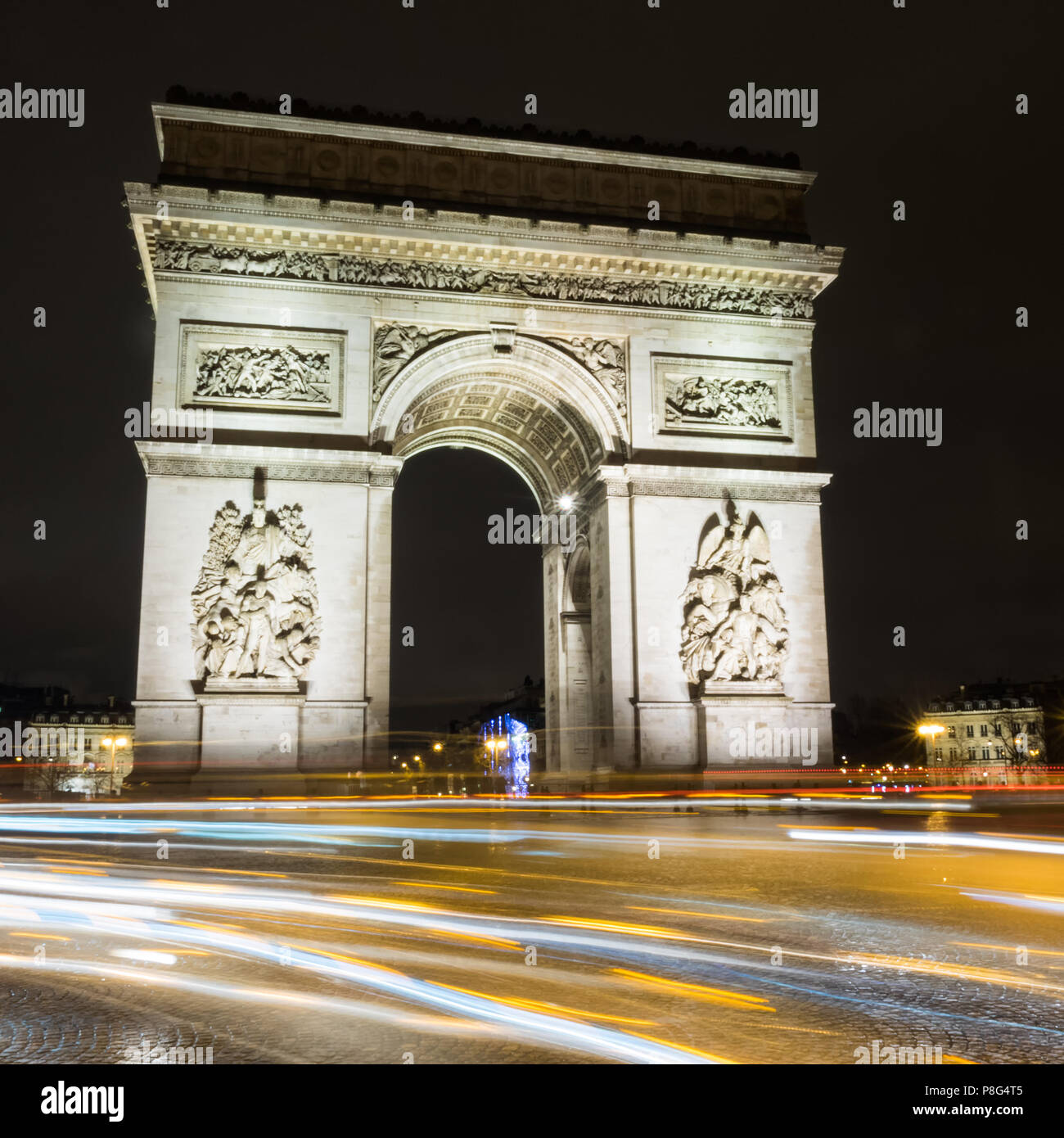 Arc de Triump at night, Paris, France Stock Photo