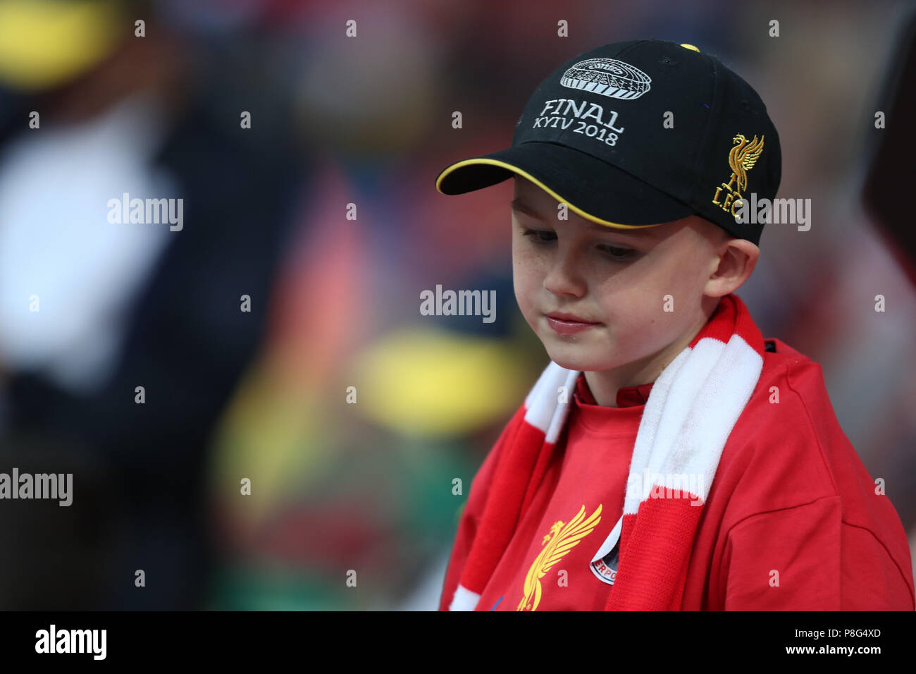 KYIV, UKRAINE - MAY 26, 2018: Upset Liverpool young fan