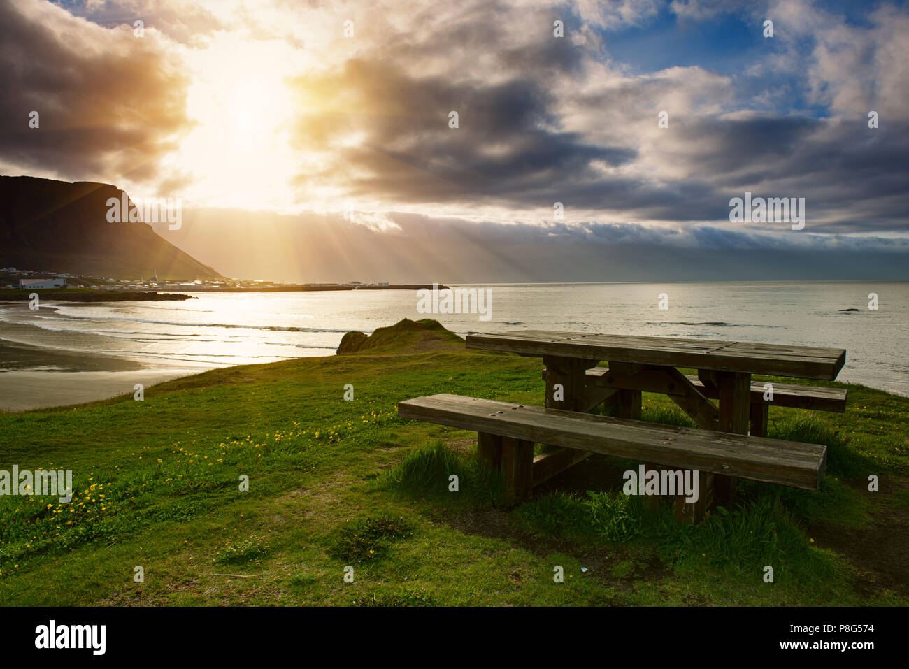 Picnic table in Iceland - Stock Image