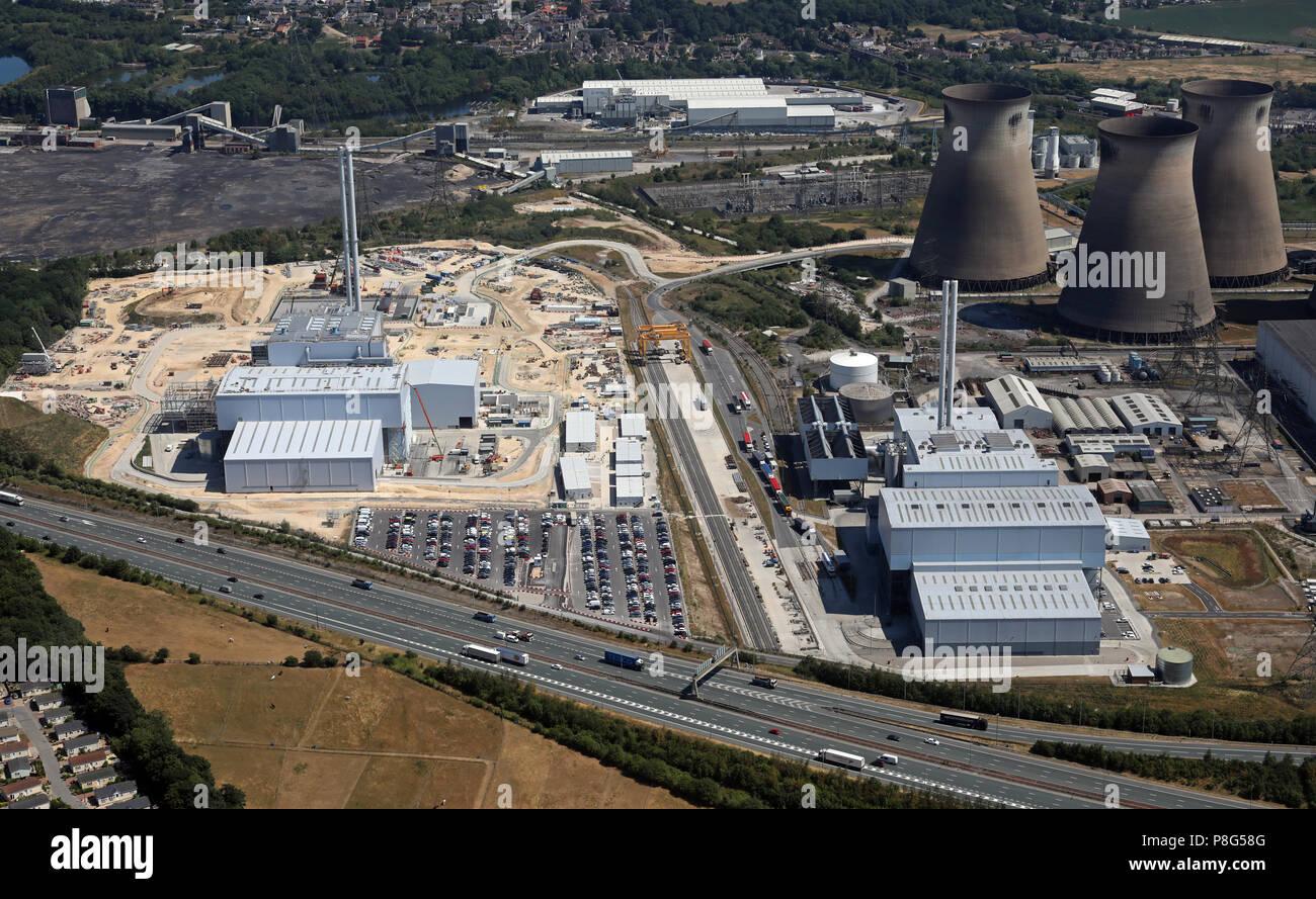 aerial view of Ferrybridge Power Station, at Ferrybridge village, near Knottingley, West Yorkshire - Stock Image