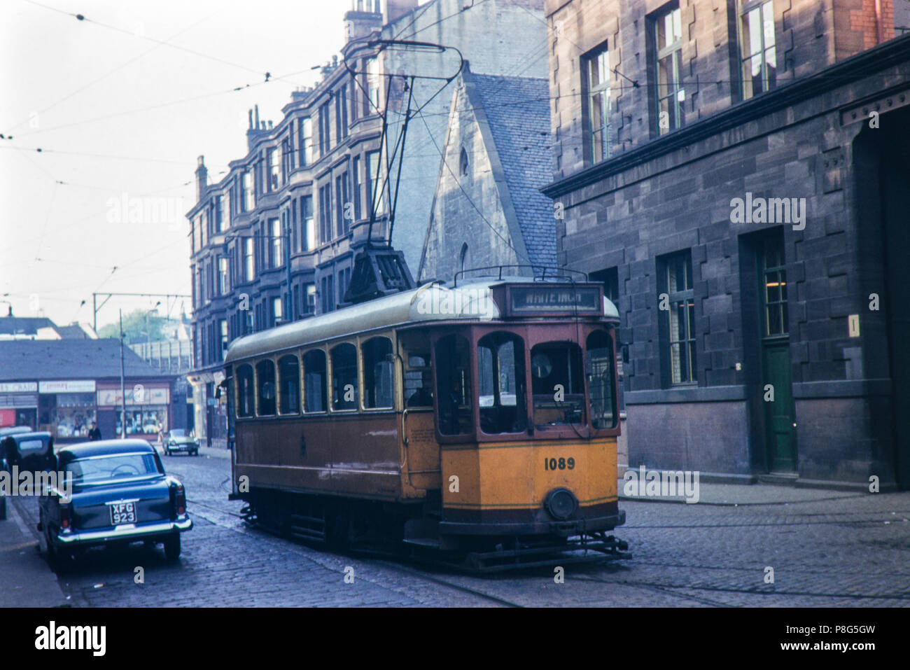 Glasgow Tram no. 1089 single deck at Partick Depot on 22/05/1961 - Stock Image