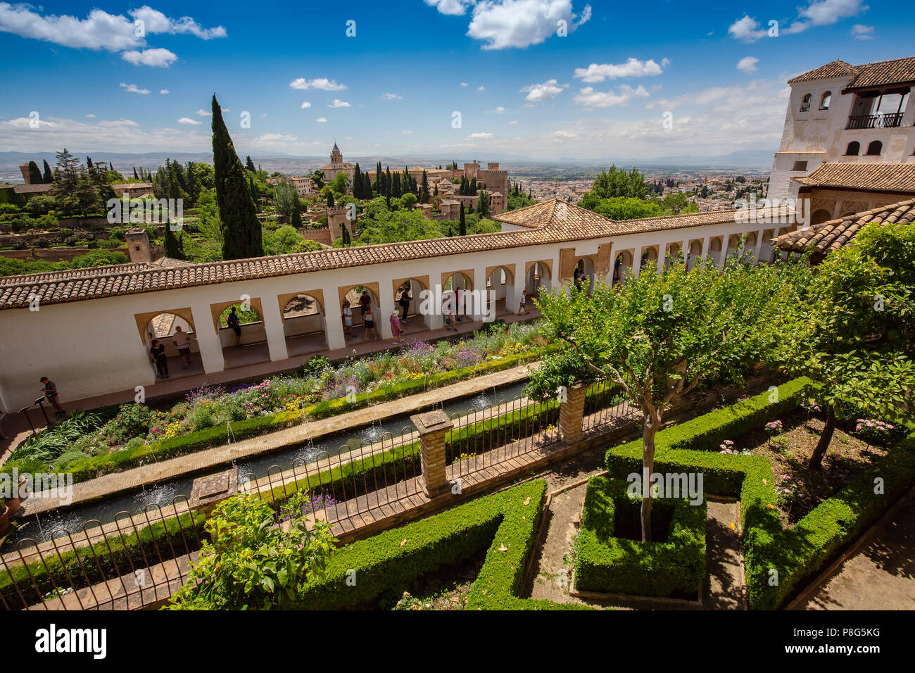 Patio de la Acequia, Generalife Palace gardens. Alhambra, UNESCO World Heritage Site. Granada City. Andalusia, Southern Spain Europe Stock Photo