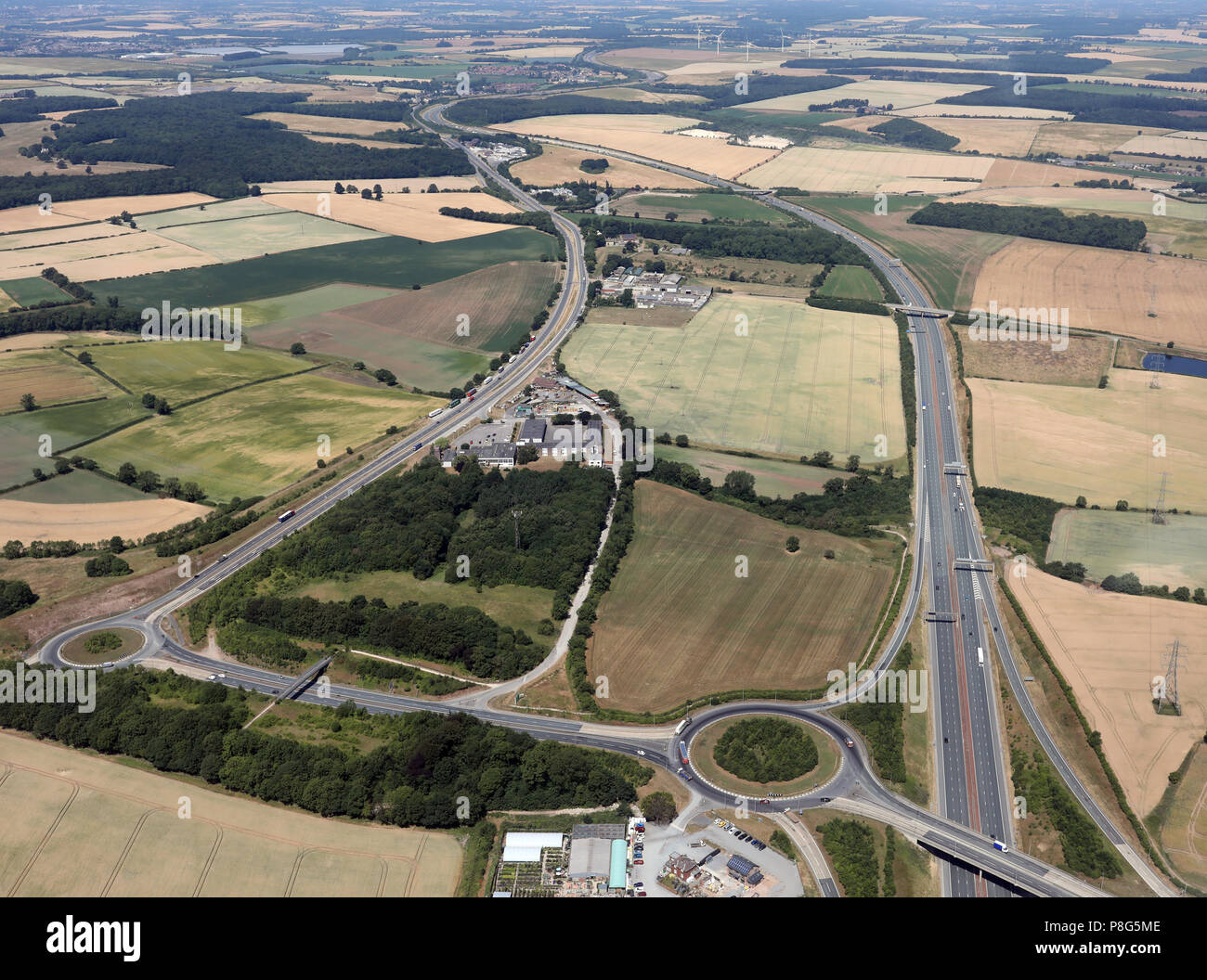 aerial view of Selby Fork with the old A1 and new A1(M), South Milford near Leeds - Stock Image