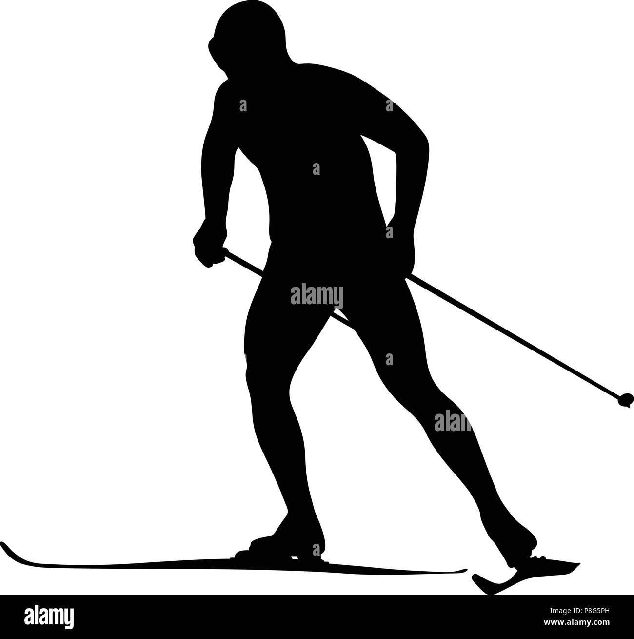 man athlete skier ski racing competitions black silhouette - Stock Vector