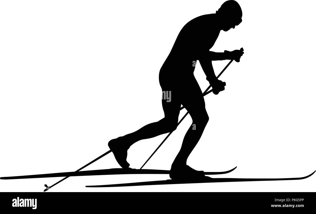 cross country skiing racing athlete skier black silhouette - Stock Vector