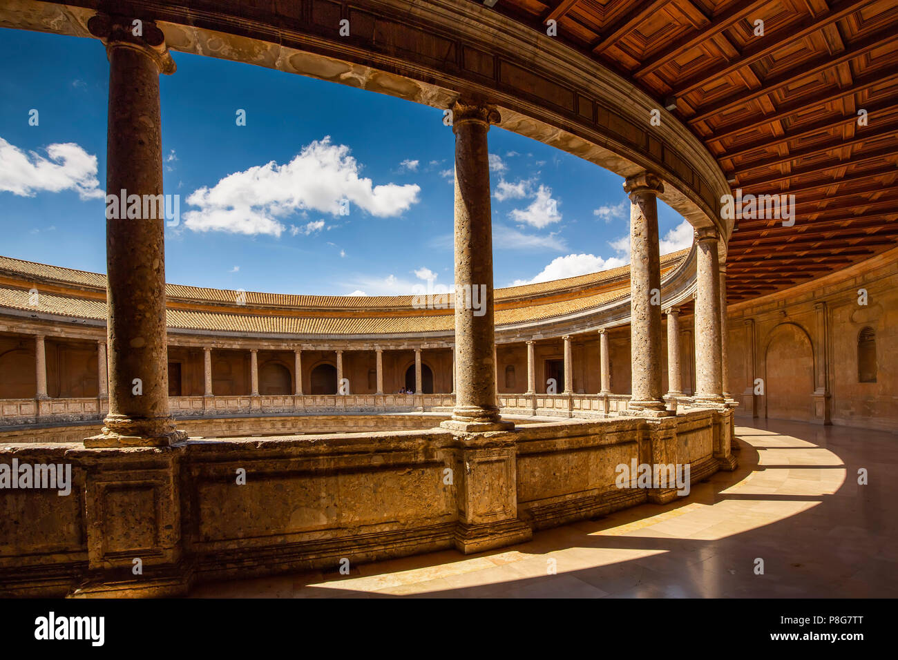Inner circular courtyard. Palacio de Carlos V. Palace of Charles V. Alhambra, UNESCO World Heritage Site. Granada City. Andalusia, Southern Spain Euro Stock Photo