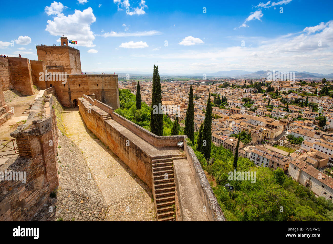 View of the Albaicín typical quarter from the Alcazaba. Alhambra, UNESCO World Heritage Site. Granada City. Andalusia, Southern Spain Europe Stock Photo
