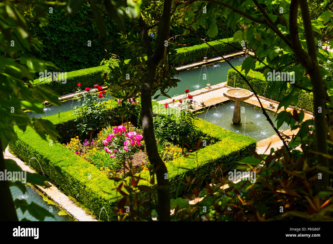 Generalife Palace gardens. Alhambra, UNESCO World Heritage Site. Granada City. Andalusia, Southern Spain Europe Stock Photo
