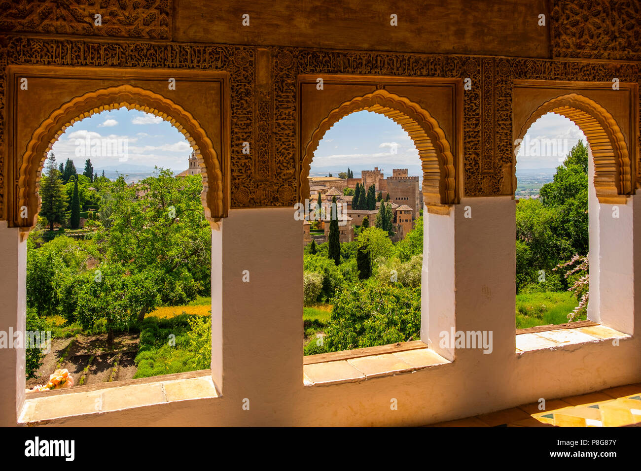 Gardens and panoramic view from Generalife Palace. Alhambra, UNESCO World Heritage Site. Granada City. Andalusia, Southern Spain Europe Stock Photo