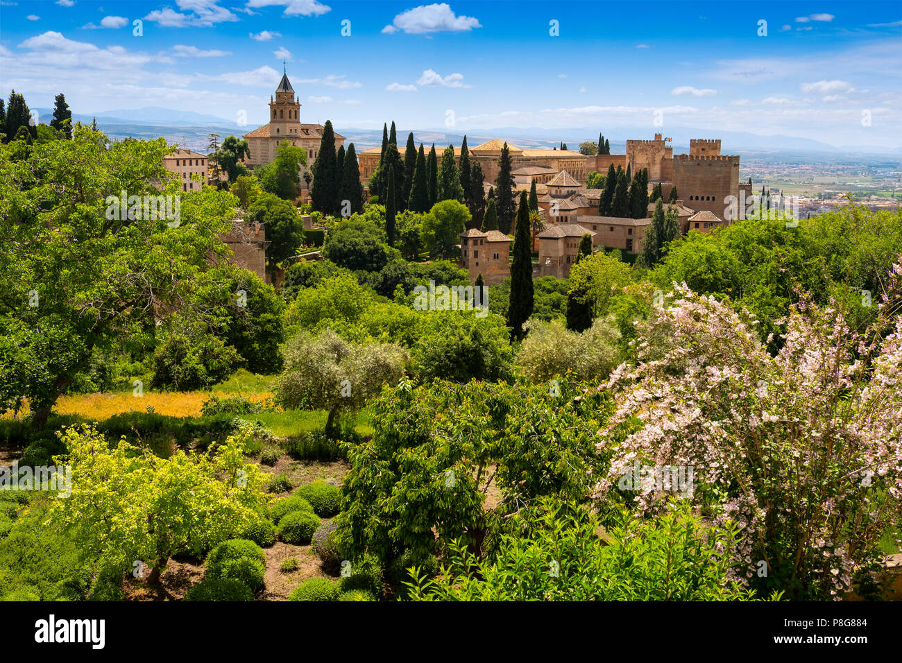 Gardens and panoramic view. Alhambra, UNESCO World Heritage Site. Granada City. Andalusia, Southern Spain Europe Stock Photo