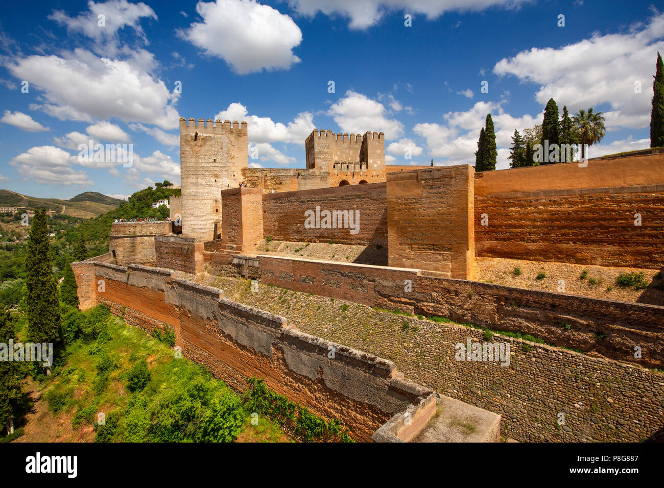 The Alcazaba. Alhambra, UNESCO World Heritage Site. Granada City. Andalusia, Southern Spain Europe Stock Photo