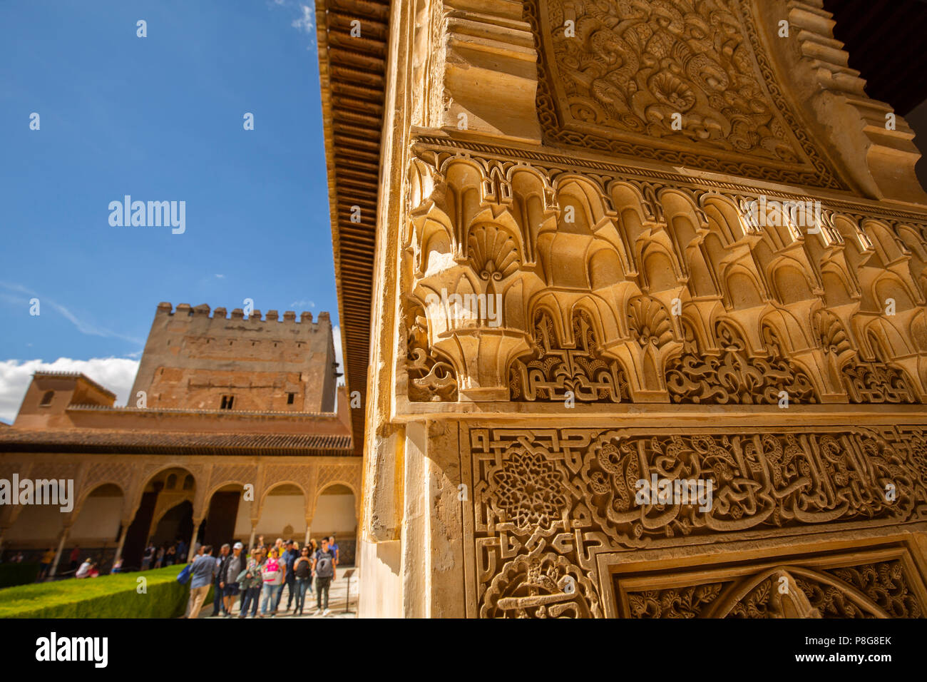 Patio de los Arrayanes. Decorative carving in wall plaster work in the Nasrid Palace. Alhambra, UNESCO World Heritage Site. Granada City. Andalusia, S Stock Photo