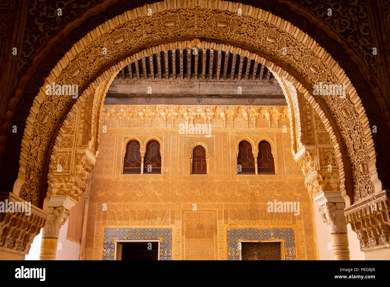 Palacios Nazaries. Nasrid Palace. Alhambra, UNESCO World Heritage Site. Granada City. Andalusia, Southern Spain Europe Stock Photo