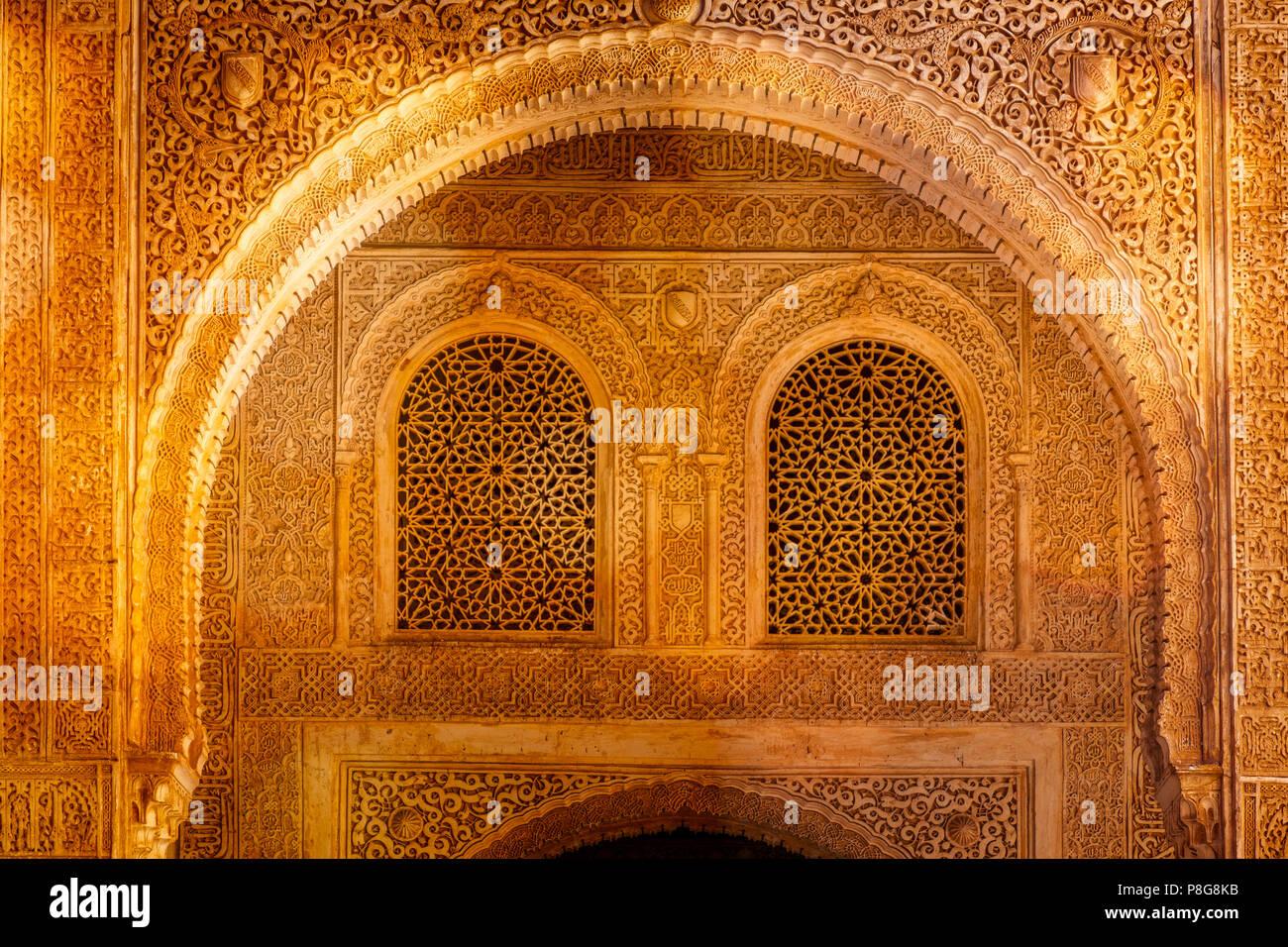 Palacios Nazaries. Nasrid Palace. Alhambra, UNESCO World Heritage Site. Granada City. Andalusia, Southern Spain Europe Stock Photo