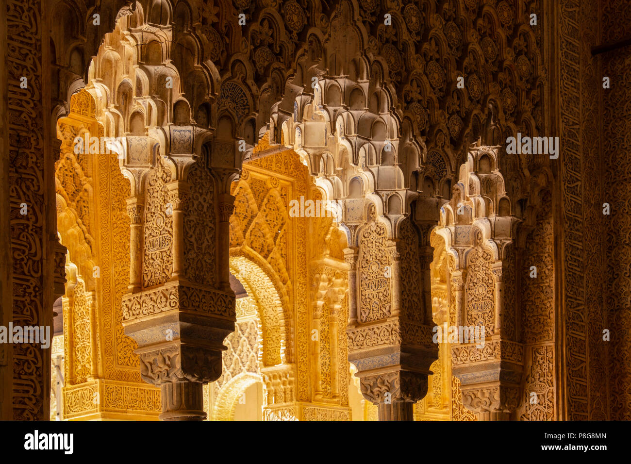 Patio de los Leones, Court of the Lions. Alhambra, UNESCO World Heritage Site. Granada City. Andalusia, Southern Spain Europe Stock Photo