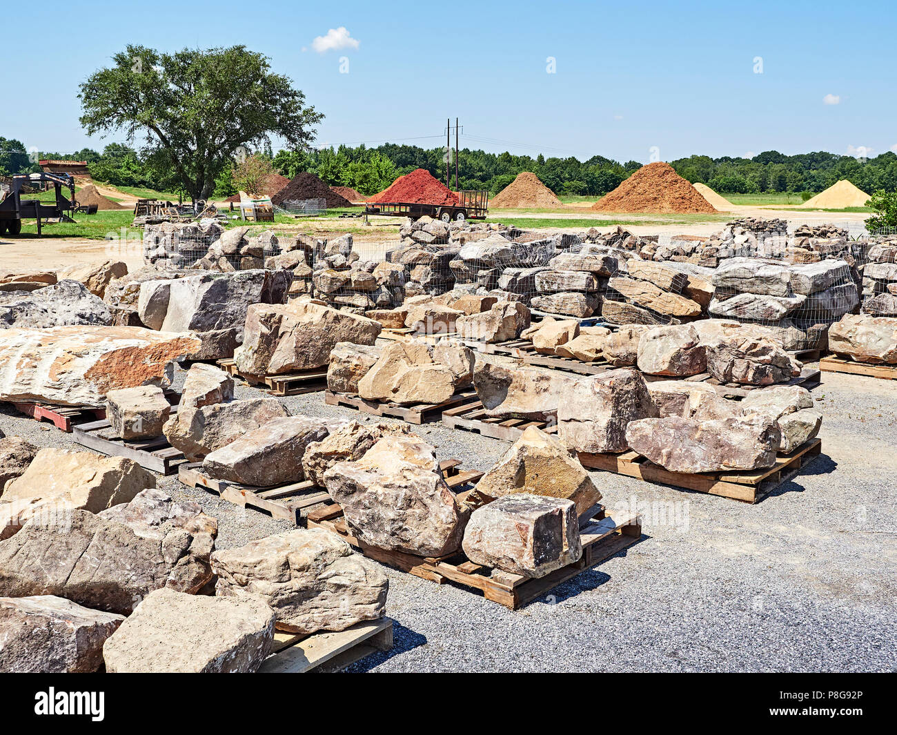 Landscaping Materials Yard With Large Rocks And Stones Used In Landscaping Construction Work In Montgomery Alabama Usa Stock Photo Alamy