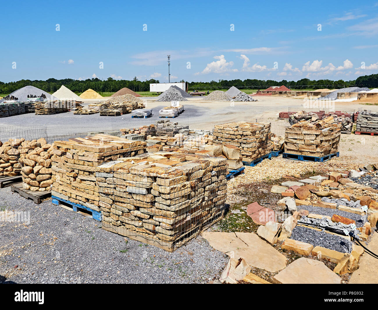 Landscaping Materials Yard With Large Rocks And Stones Used In