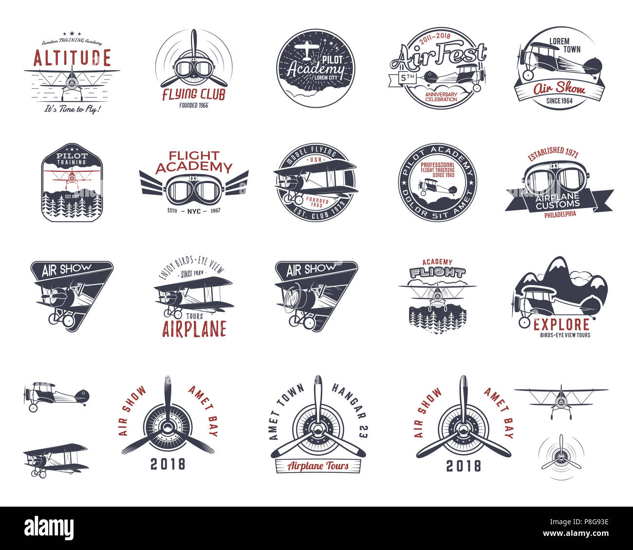 Vintage hand drawn old fly stamps. Travel or business airplane tour emblems. Biplane academy labels. Retro aerial badge isolated. Pilot school logo. Plane tee design, prints, web design. Stock  - Stock Image