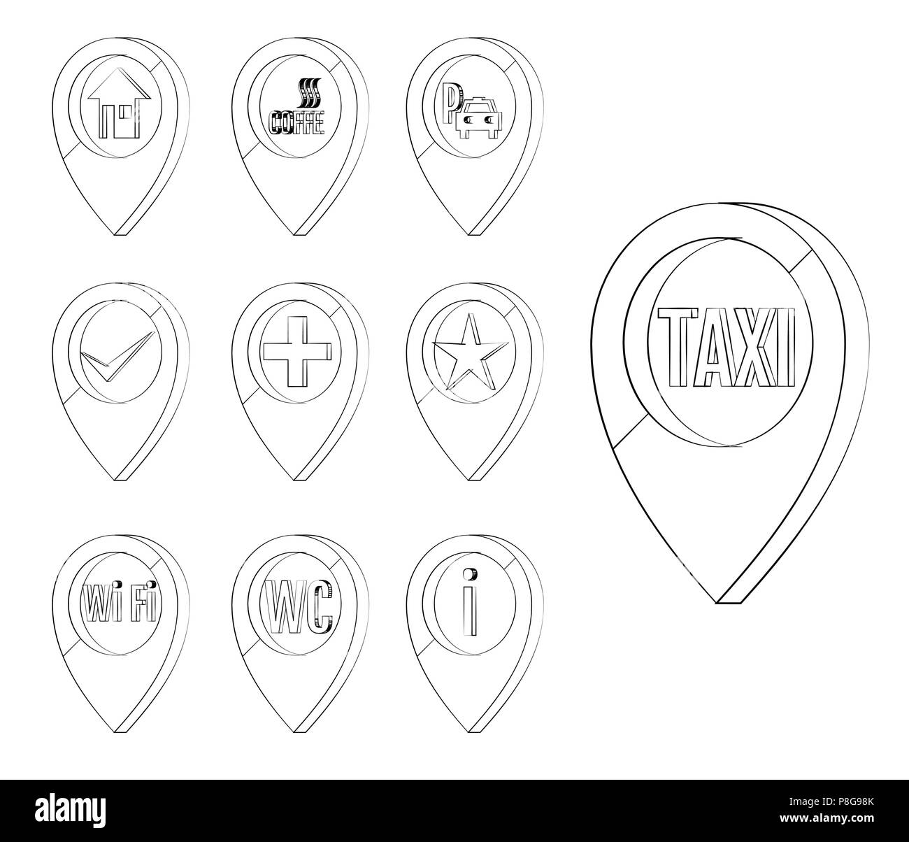 Map marker set. Markers to identify a location on a map ... on set table, set rules, set list, set home page, set schedule,
