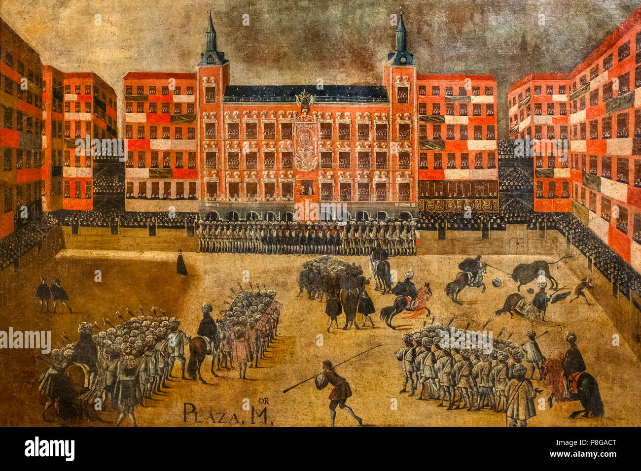 Museo Taurino Real Maestranza de Caballería. Bullfighting Festival in Plaza Mayor of Madrid. Anonymous, Madrid School 1679. Oil on canvas. Monumental  - Stock Image