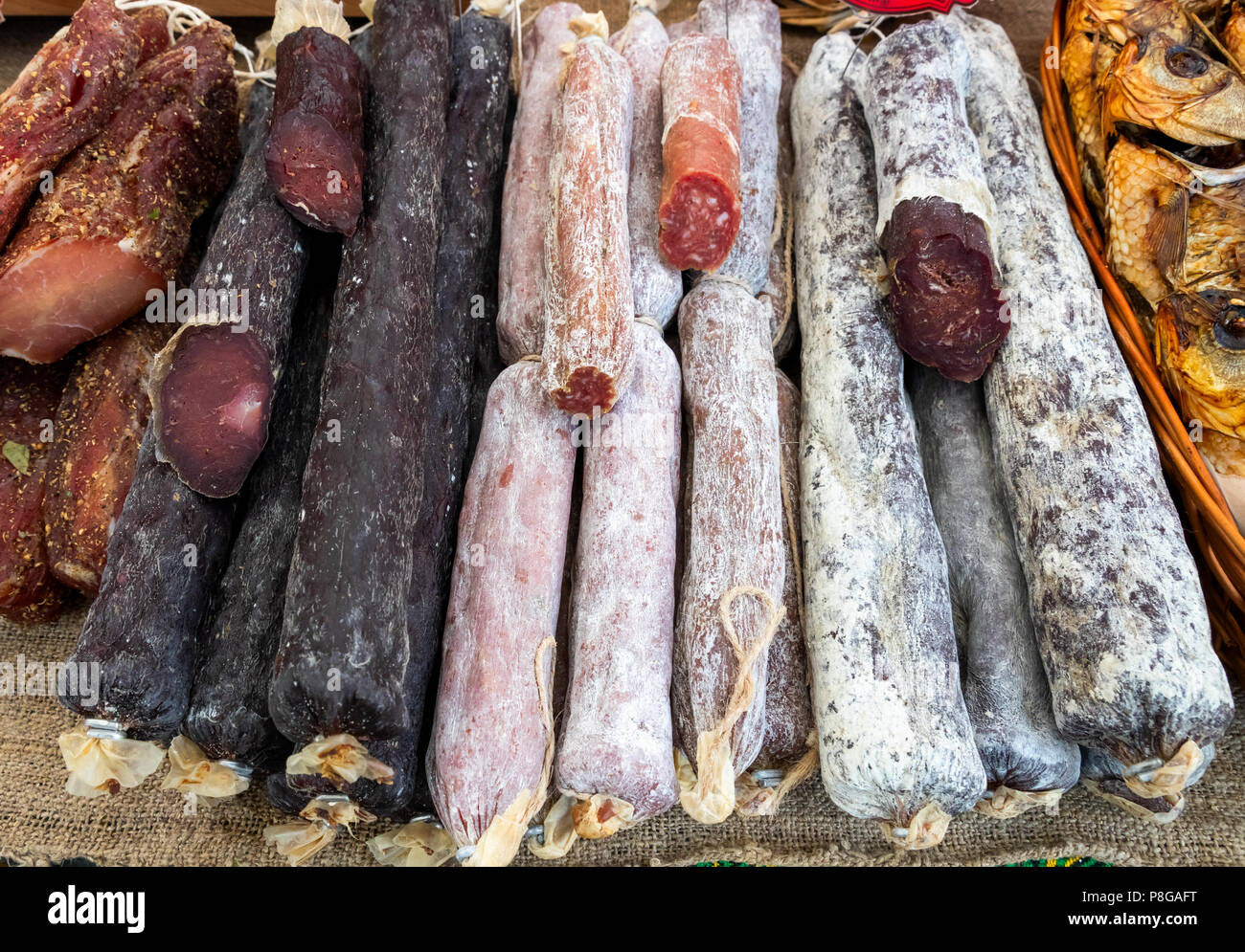 Assorted smoked sausages - Stock Image