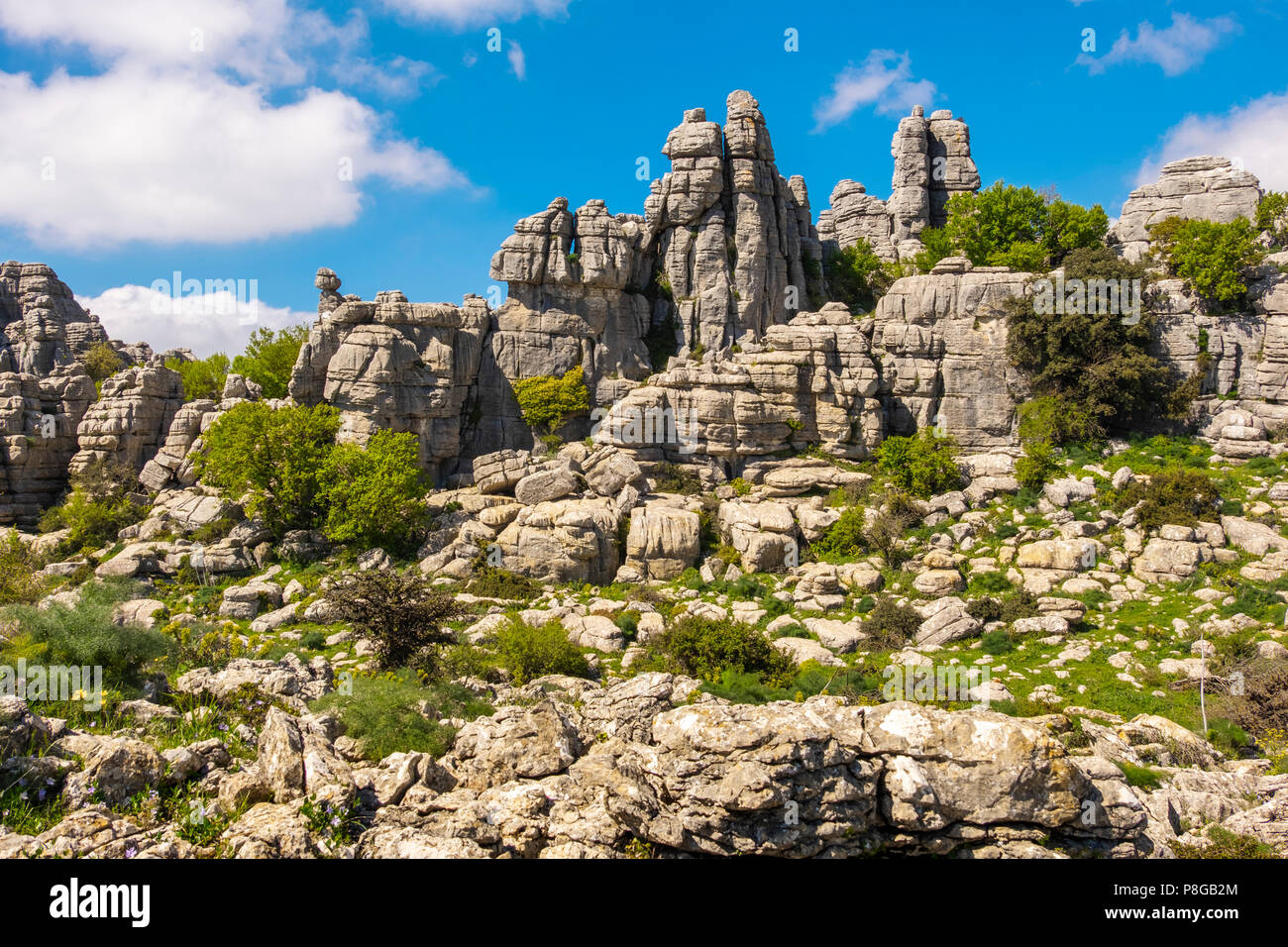 Torcal de Antequera, Erosion working on Jurassic limestones, Málaga province. Andalusia, Southern Spain Europe - Stock Image