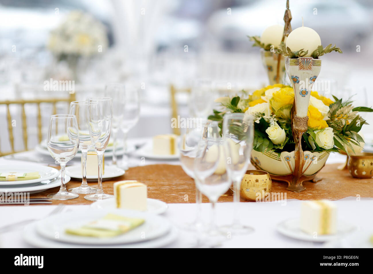 Table set for an event party or wedding reception, summer theme ...