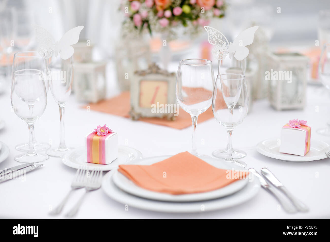 Table Set For An Event Party Or Wedding Reception Spring Theme