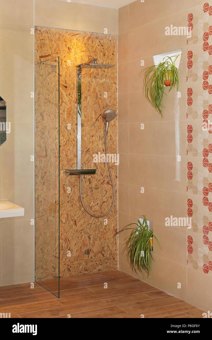 Stepless shower cabin in bathroom corner interior Stock Photo ...