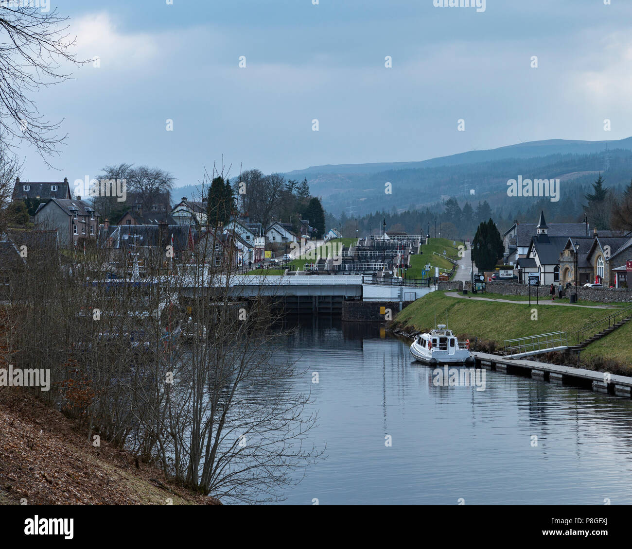 The Swing Bridge and lock gates on the Caledonian Canal at Fort Augustus, Highland, Scotland, UK - Stock Image