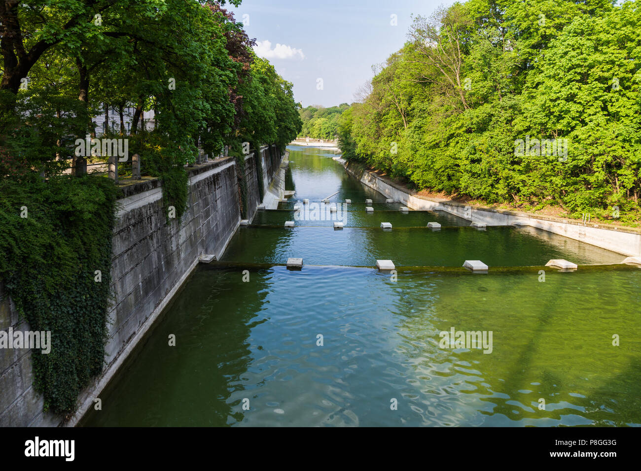 River architecture: cascades in a river regulated by humans - Stock Image