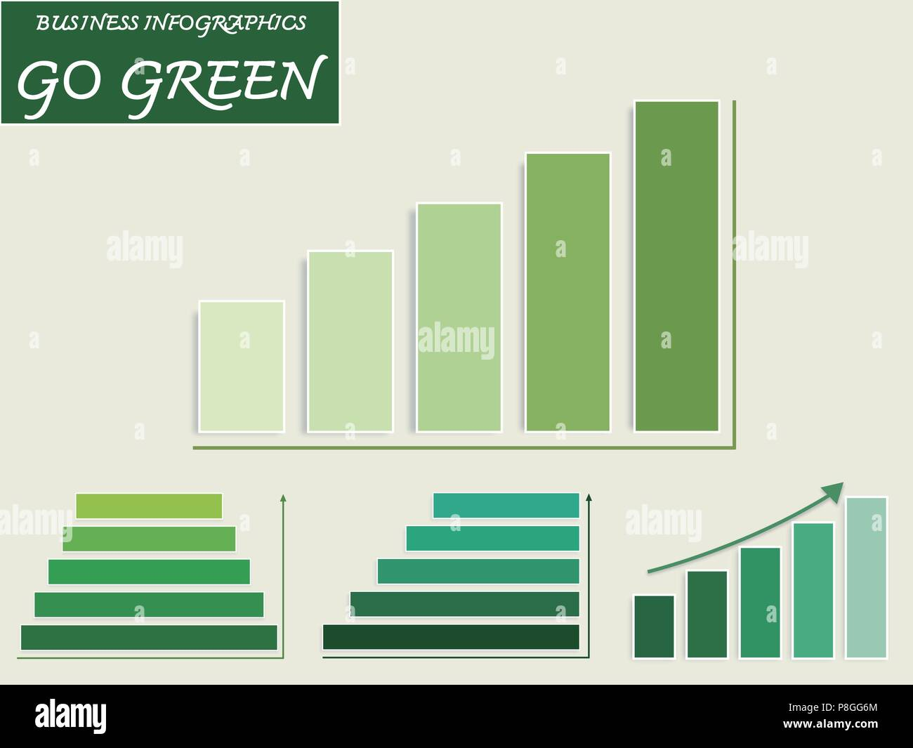 Business And Marketing Go Green Concepts Vector Set Of Green Bar