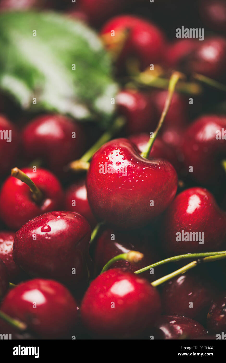 Fresh sweet cherry texture, wallpaper and background. Wet sweet cherries, selective focus, close-up. Summer food or local market produce concept Stock Photo