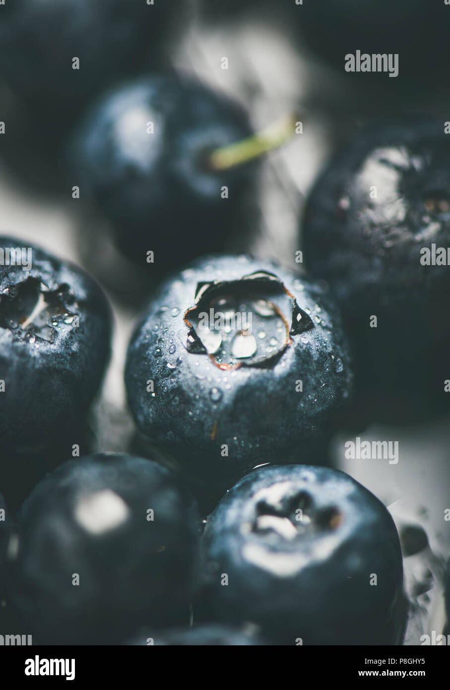 Fresh blueberry texture, wallpaper and background. Wet dark forest blueberries on dark background, selective focus, vertical composition, close-up. Su - Stock Image