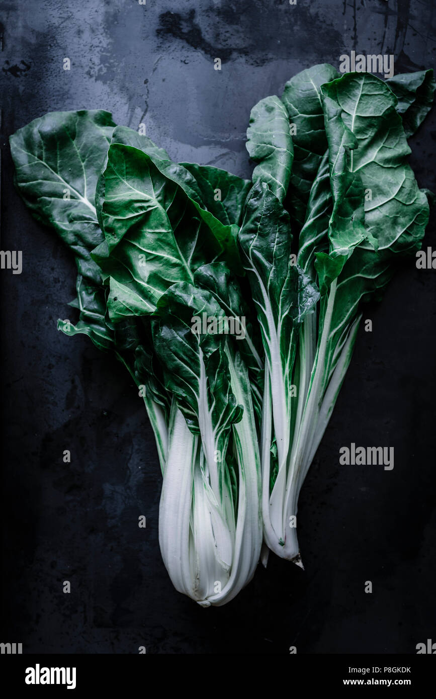 Chard or Swiss chard is a green leafy vegetable - Stock Image