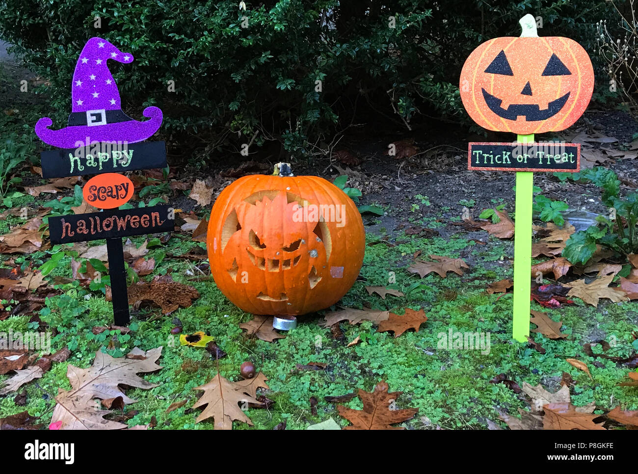 Berlin, Germany, Halloween decoration in a front yard - Stock Image