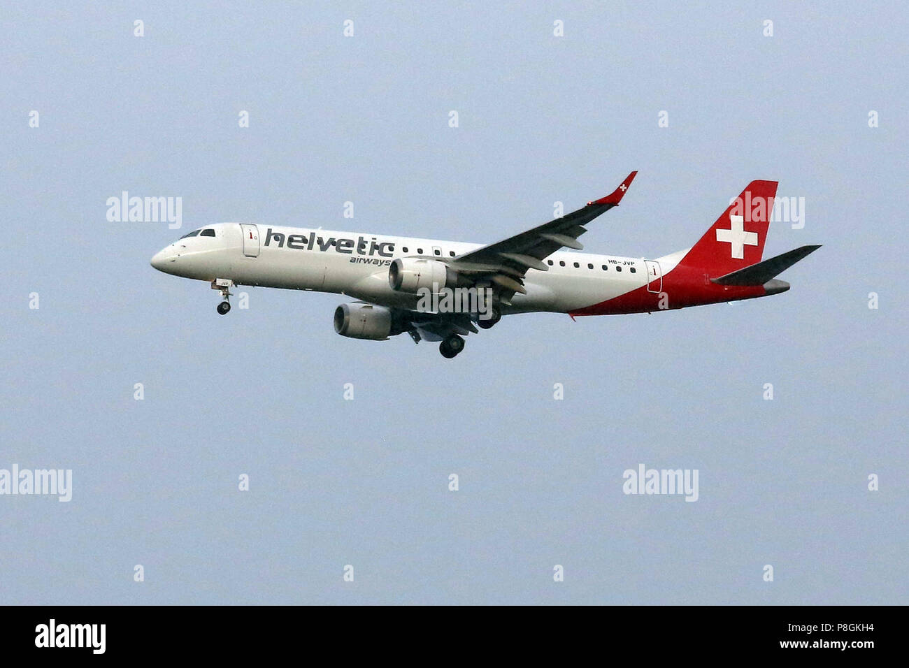 Hanover, Germany, Embraer ERJ-190LR of the airline Helvetic Airways - Stock Image