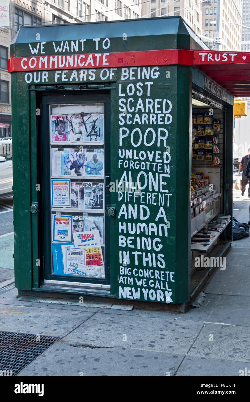 An unusual message about fears painted on the side of a newspaper stand on Seventh Avenue in New York City, near Penn Station. - Stock Image