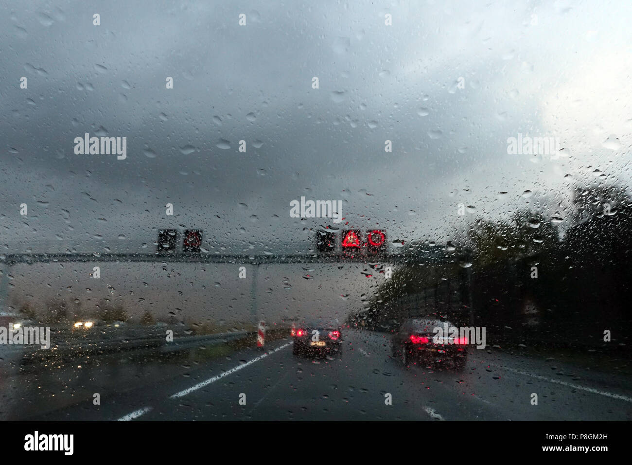 Hannover, Germany, poor visibility in rainy weather on the highway - Stock Image