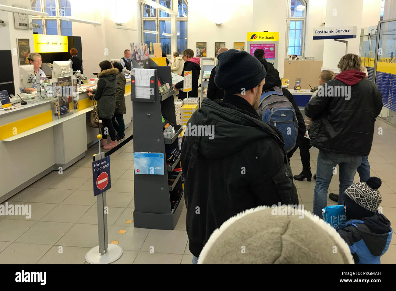 Berlin, Germany, queue in a branch of Postbank - Stock Image