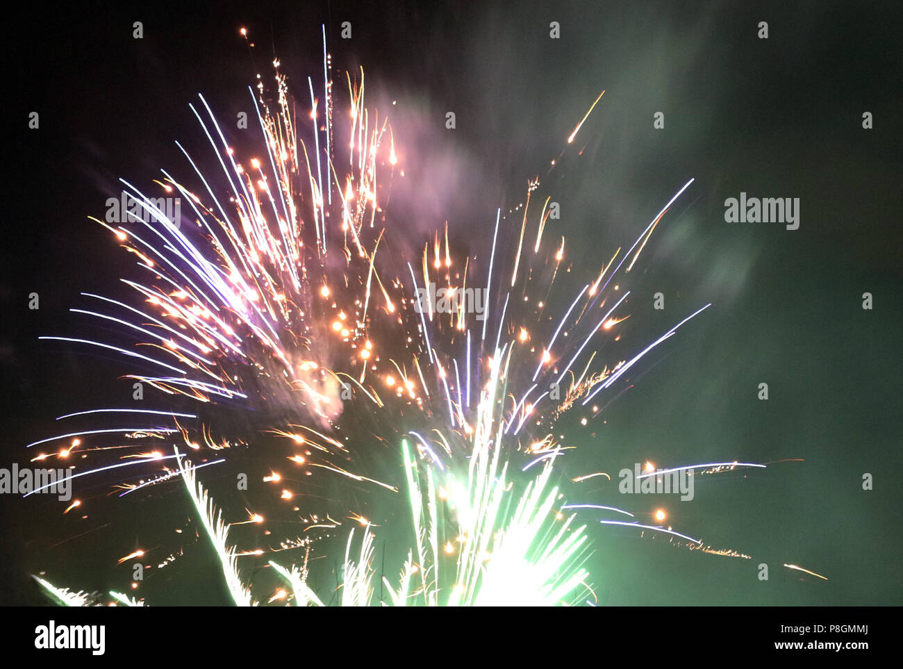 Berlin, Germany, fine dust development at New Year's Eve fireworks - Stock Image
