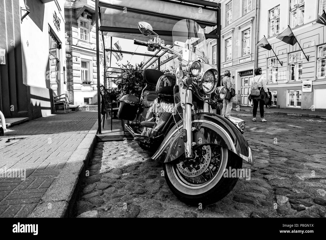 Bmw motorcycle in the street of Tallin, Estonia - Stock Image