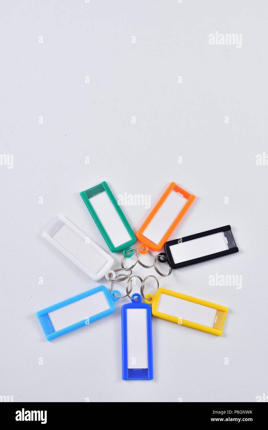 Keychain to write notes and phone number Stock Photo