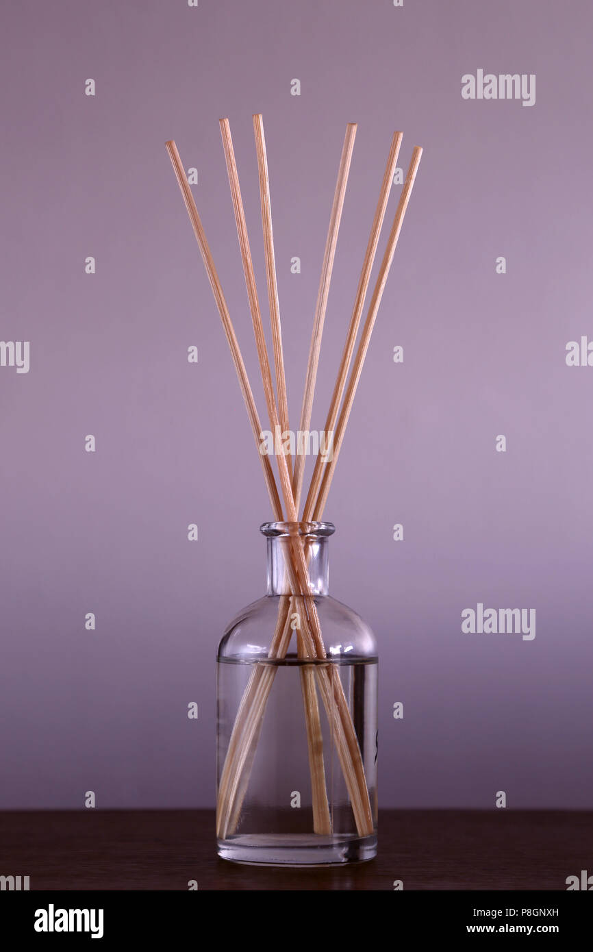 Fragrance Oils In A Glass Bottle With Wooden Sticks To Make The House Smell Good Stock Photo Alamy