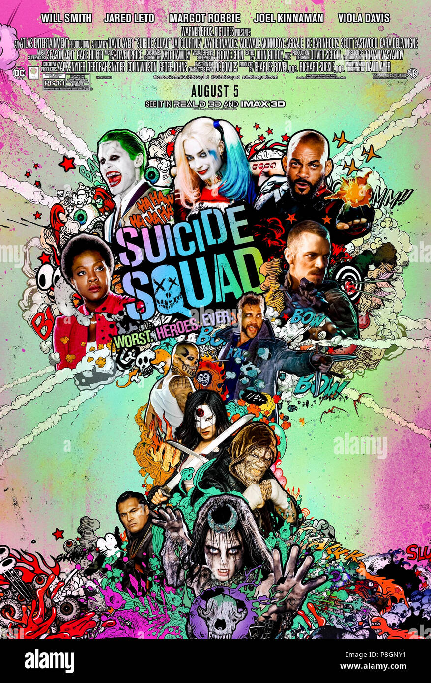 Suicide Squad (2016) directed by David Ayer and starring Will Smith, Jared Leto, Margot Robbie and Joel Kinnaman. A group of super villains is released from prison to battle the Enchantress. - Stock Image