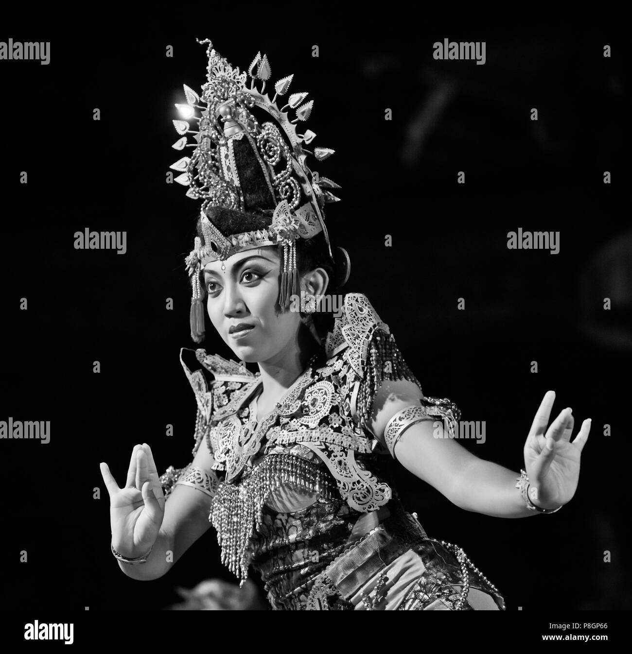 The KEBYAR DUDUK DANCE is performed by the Cenik Wayah Gamelan Dance Group at PURA TAMAN SARASWATI - UBUD, BALI, INDONESIA - Stock Image