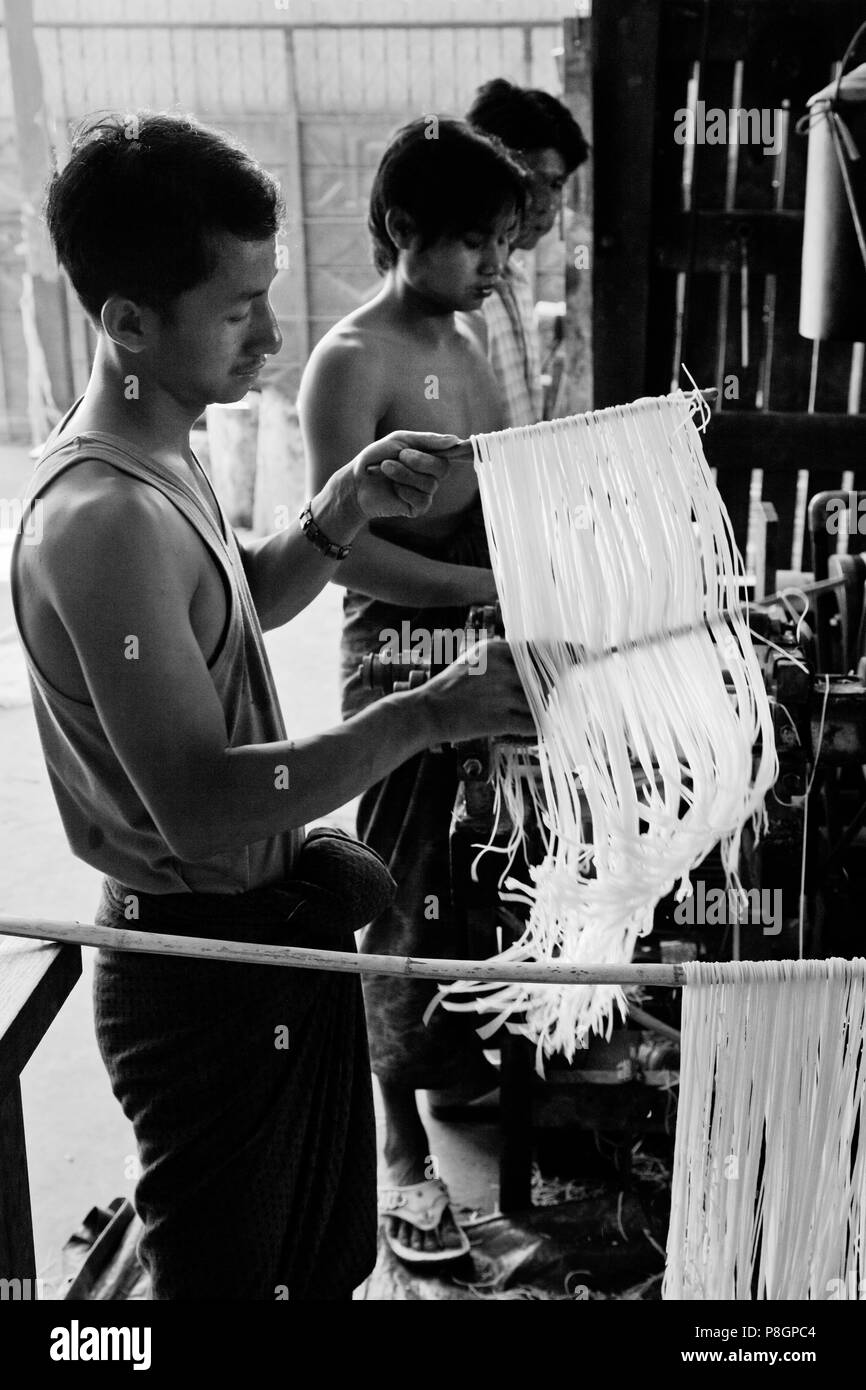 A RICE NOODLE FACTORY - HSIPAW, MYANMAR - Stock Image