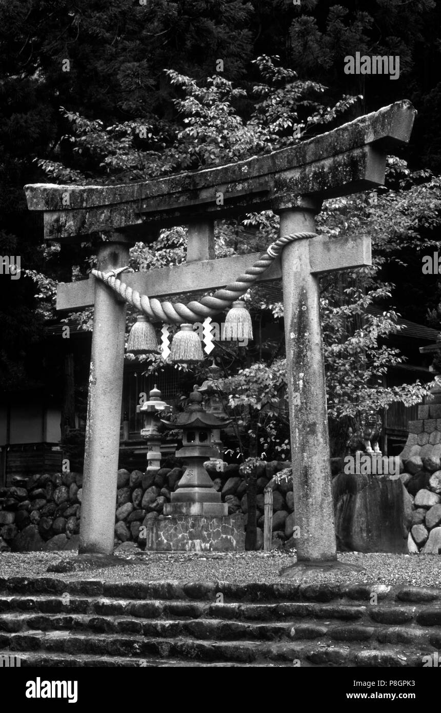 A TORI GATE which is part of a HACHIMAN JINGO SHRINE (SHINTO) - OGAMACHI, JAPAN - Stock Image