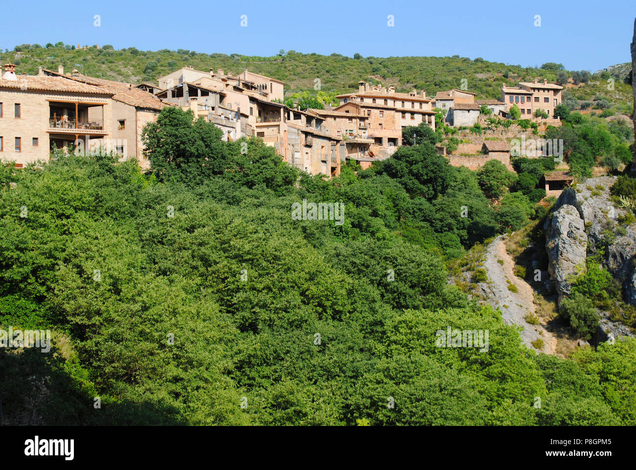 The view of Alquézar, a medieval village in Aragon, Spain. - Stock Image